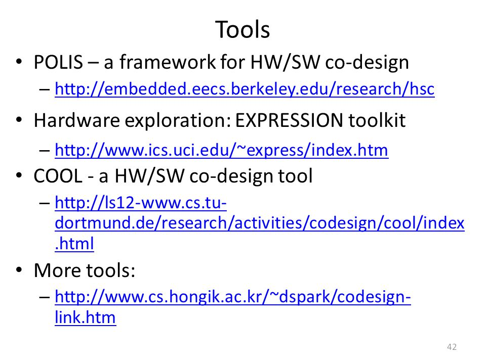 Tools POLIS – a framework for HW/SW co-design