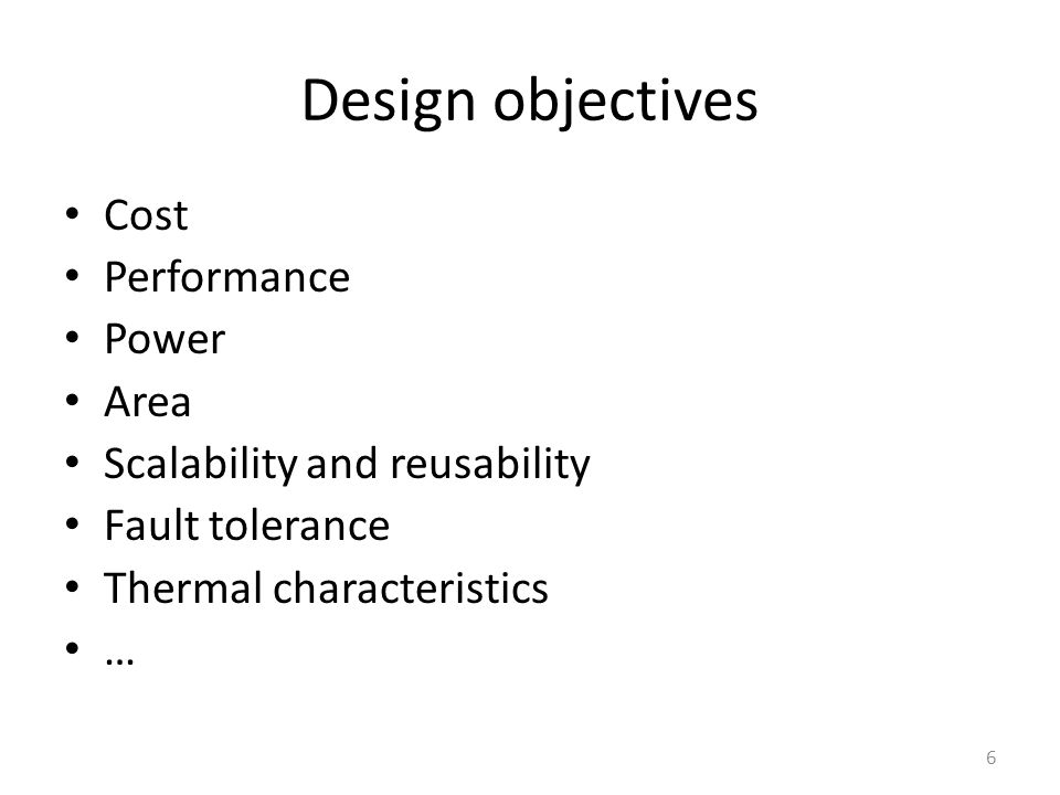 Design objectives Cost Performance Power Area