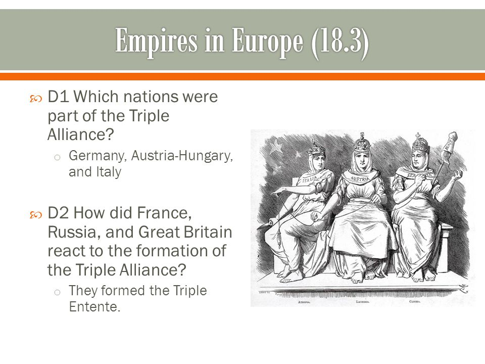 Empires in Europe (18.3) D1 Which nations were part of the Triple Alliance Germany, Austria-Hungary, and Italy.