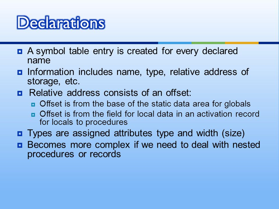 Declarations A symbol table entry is created for every declared name