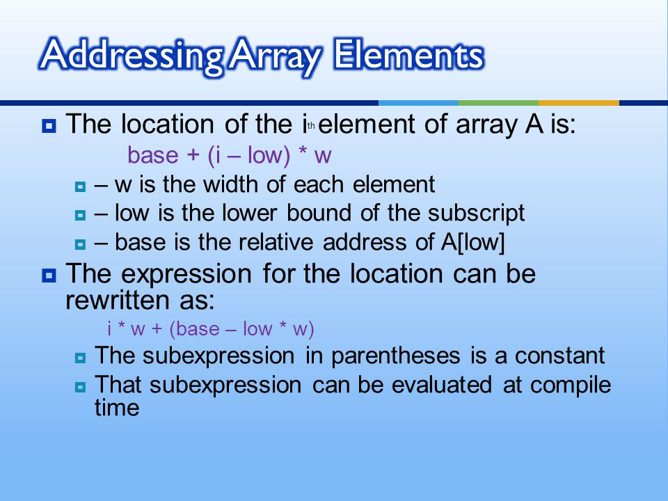 Addressing Array Elements