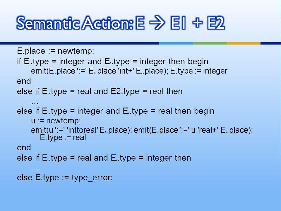 Semantic Action: E  E1 + E2