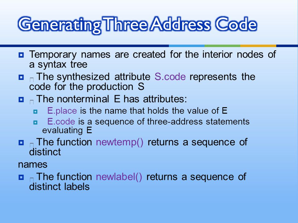 Generating Three Address Code