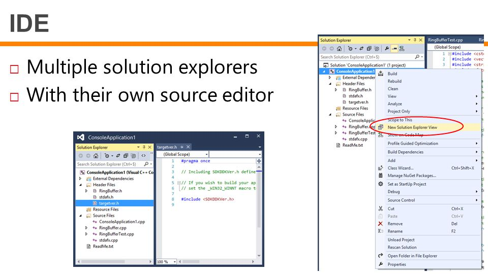 IDE Multiple solution explorers With their own source editor