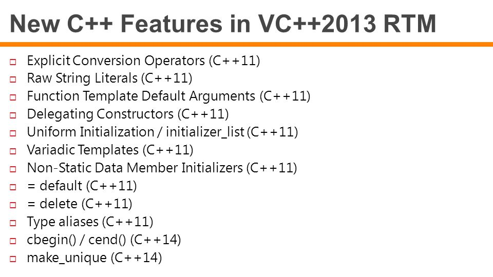 New C++ Features in VC++2013 RTM