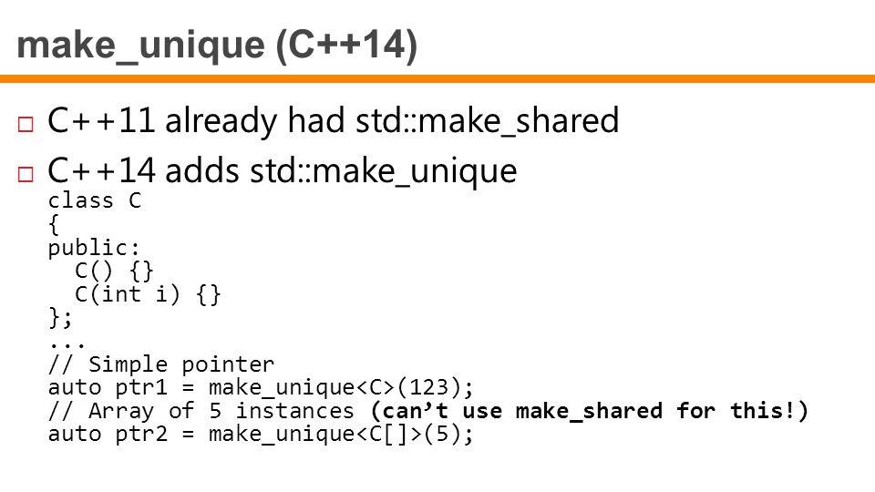 make_unique (C++14) C++11 already had std::make_shared