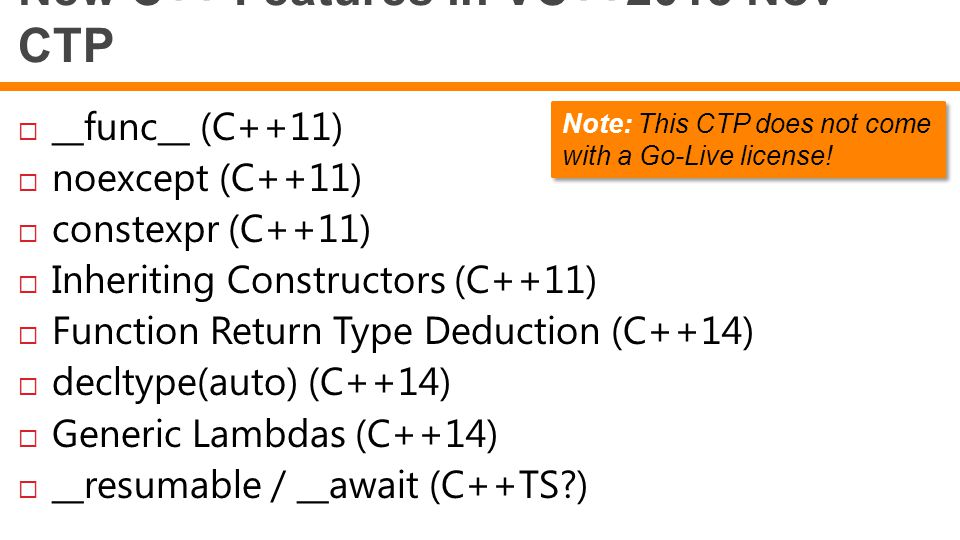 New C++ Features in VC++2013 Nov CTP