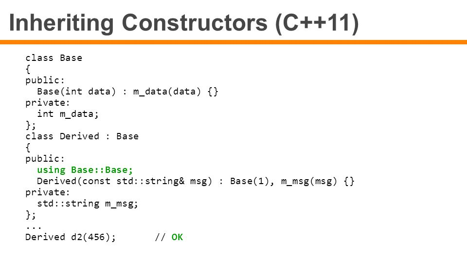 Inheriting Constructors (C++11)