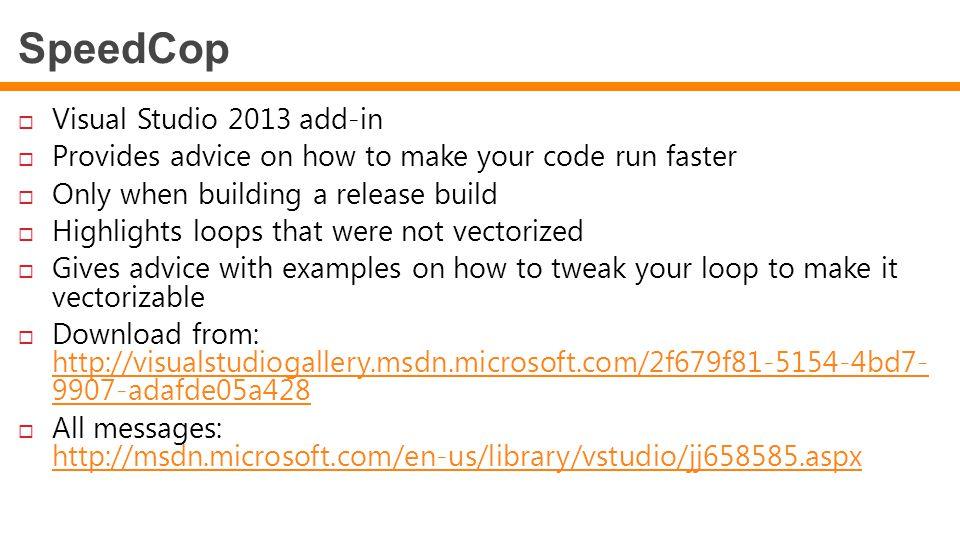 SpeedCop Visual Studio 2013 add-in