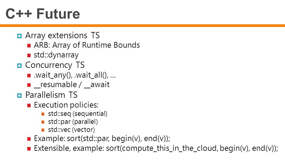 C++ Future Array extensions TS Concurrency TS Parallelism TS