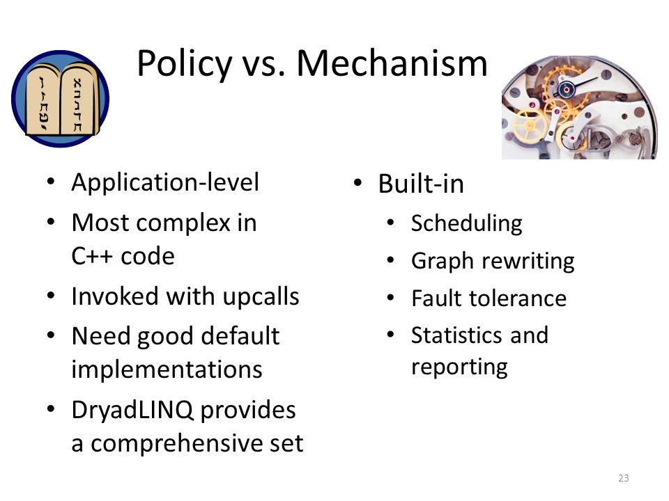 Policy vs. Mechanism Built-in Application-level
