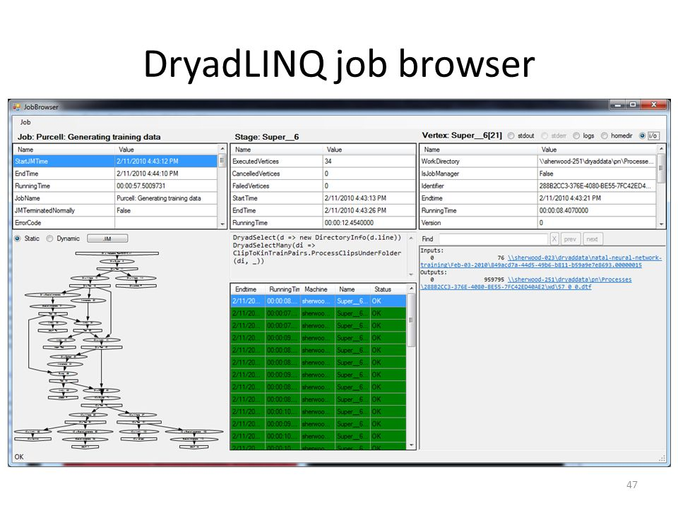 DryadLINQ job browser