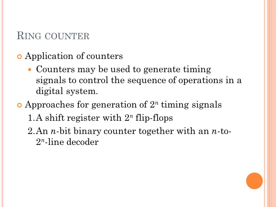 Ring counter Application of counters