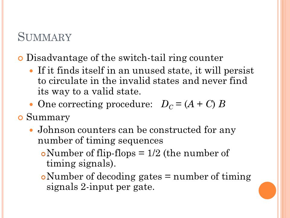 Summary Disadvantage of the switch-tail ring counter