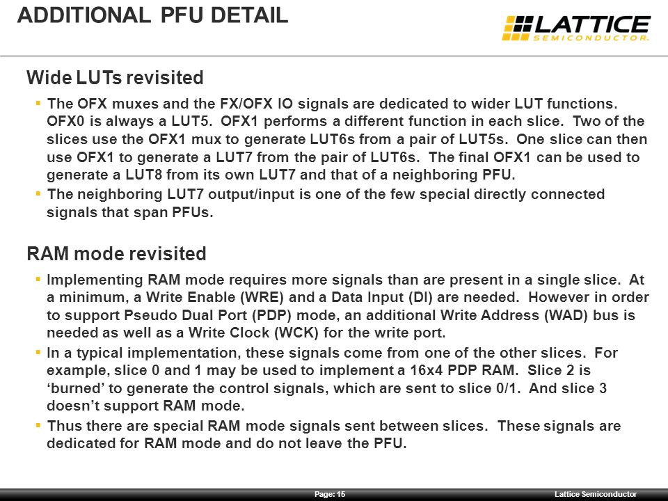 Additional pfu detail Wide LUTs revisited RAM mode revisited