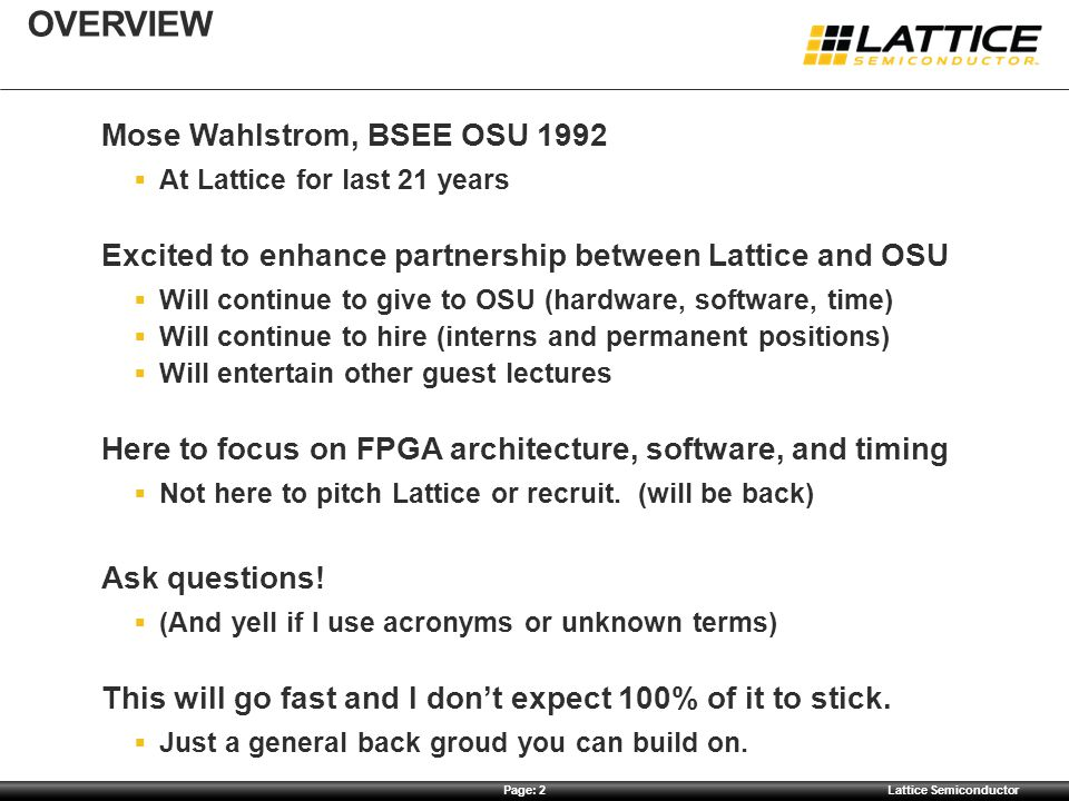 Overview Mose Wahlstrom, BSEE OSU 1992
