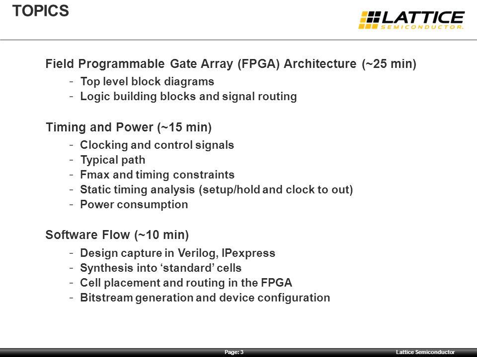 topics Field Programmable Gate Array (FPGA) Architecture (~25 min)