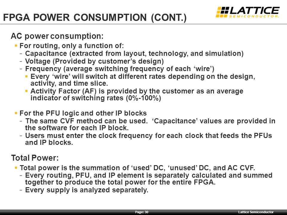FPGA Power CONSUMPTION (cont.)