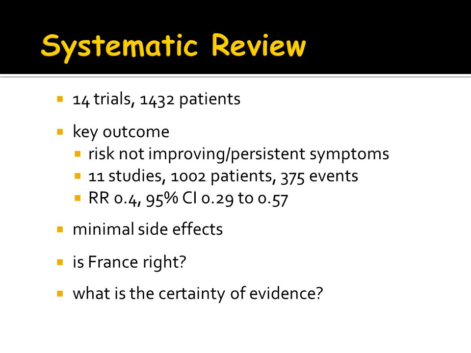 Systematic Review 14 trials, 1432 patients key outcome
