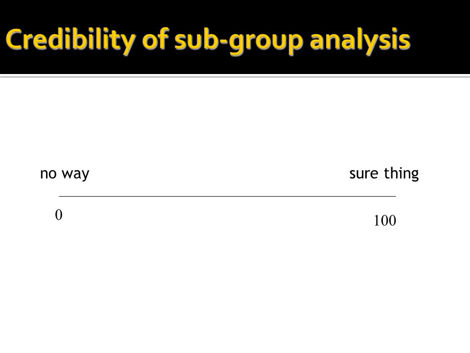 Credibility of sub-group analysis
