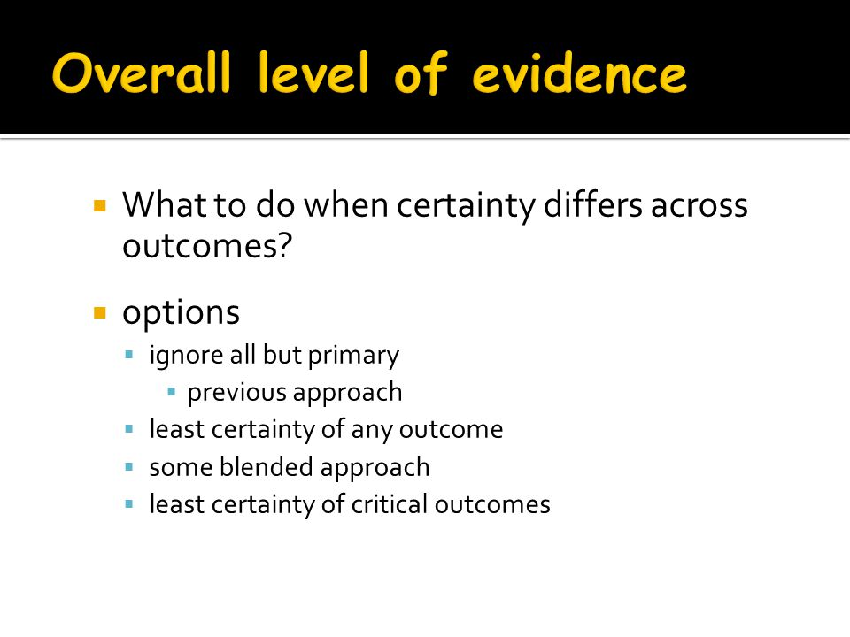 Overall level of evidence