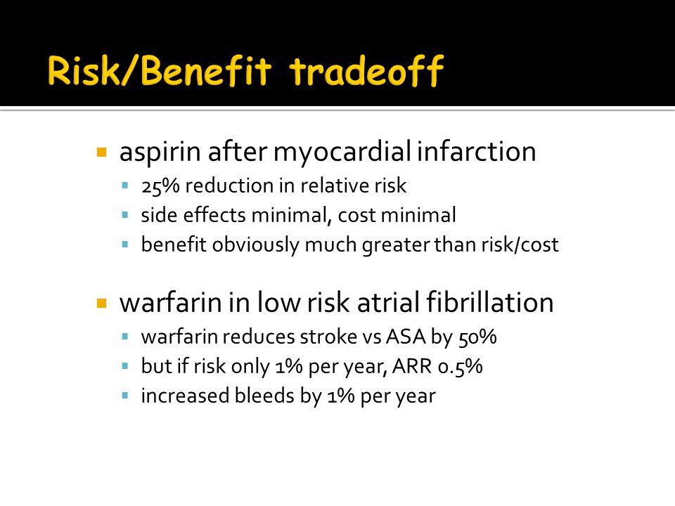 Risk/Benefit tradeoff