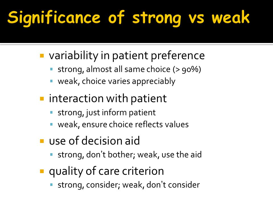 Significance of strong vs weak