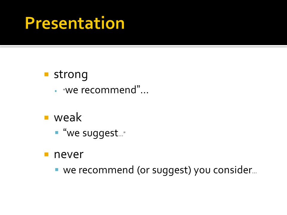 Presentation strong weak never we suggest…