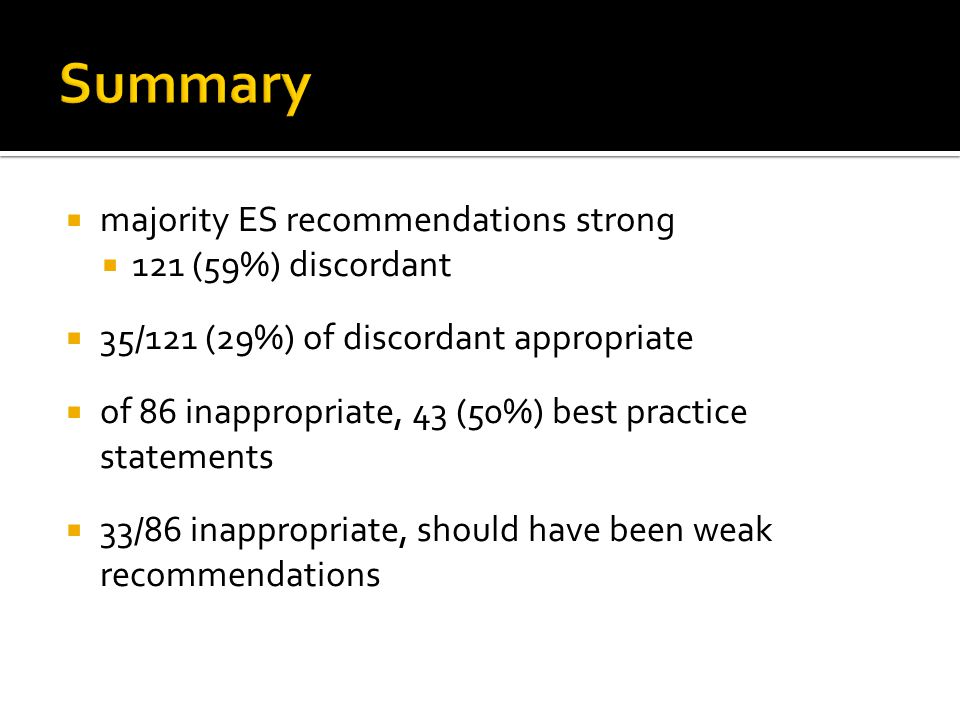 Summary majority ES recommendations strong 121 (59%) discordant