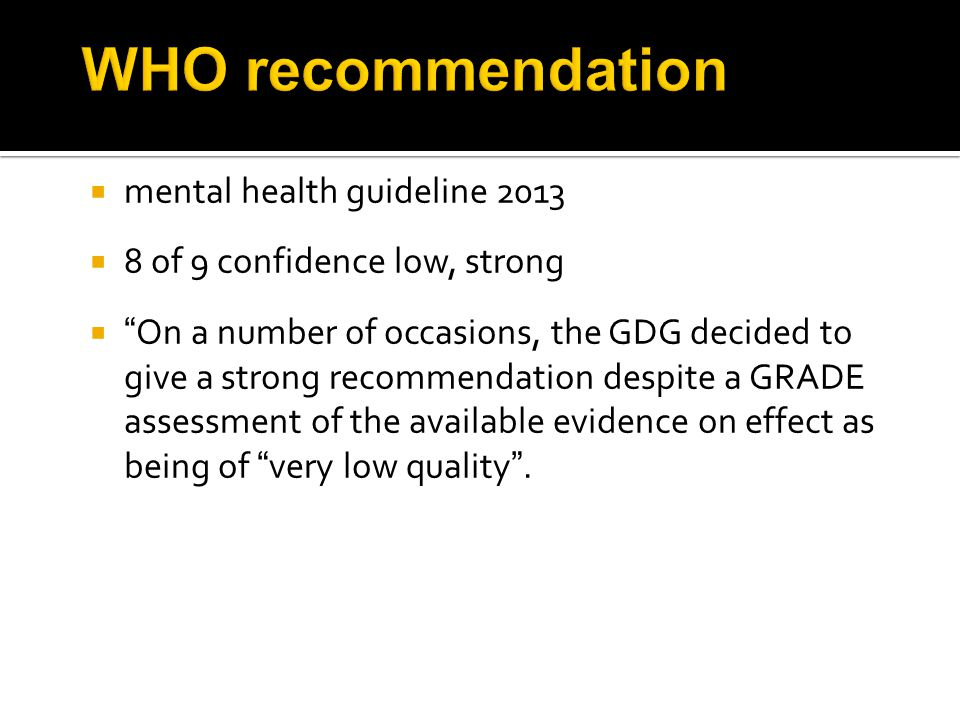 WHO recommendation mental health guideline 2013