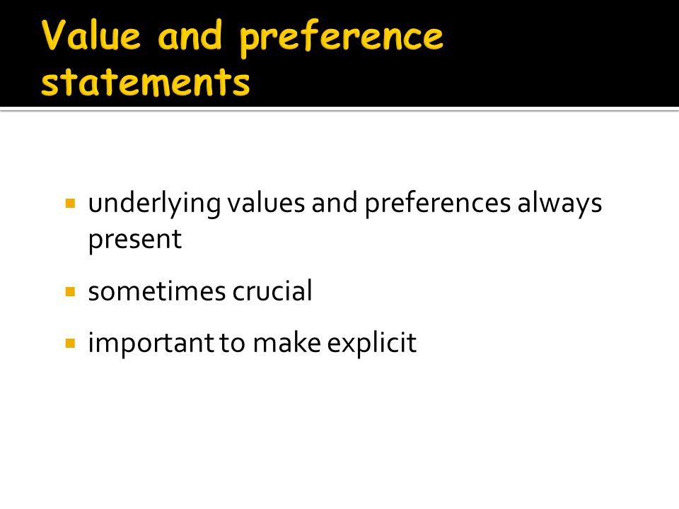 Value and preference statements