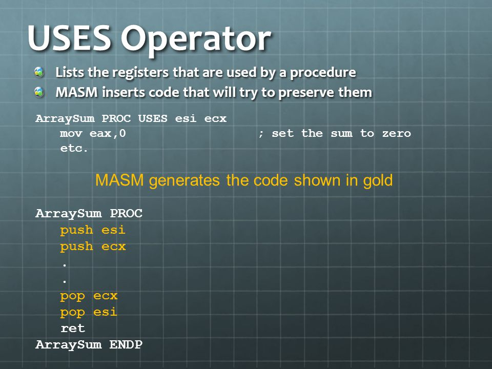 MASM generates the code shown in gold