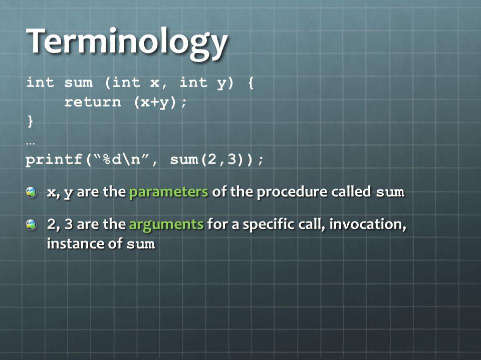 Terminology int sum (int x, int y) { return (x+y); } …