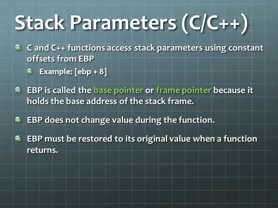 Stack Parameters (C/C++)