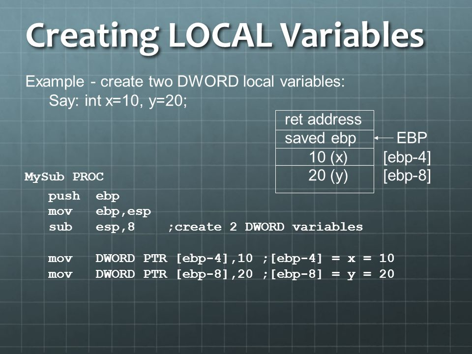 Creating LOCAL Variables