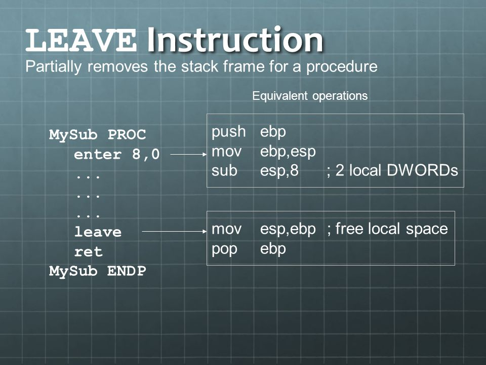 LEAVE Instruction Partially removes the stack frame for a procedure