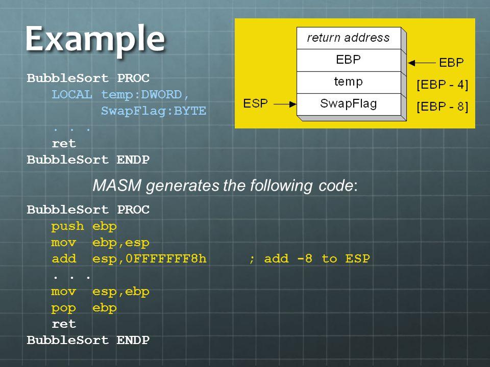 Example MASM generates the following code: BubbleSort PROC