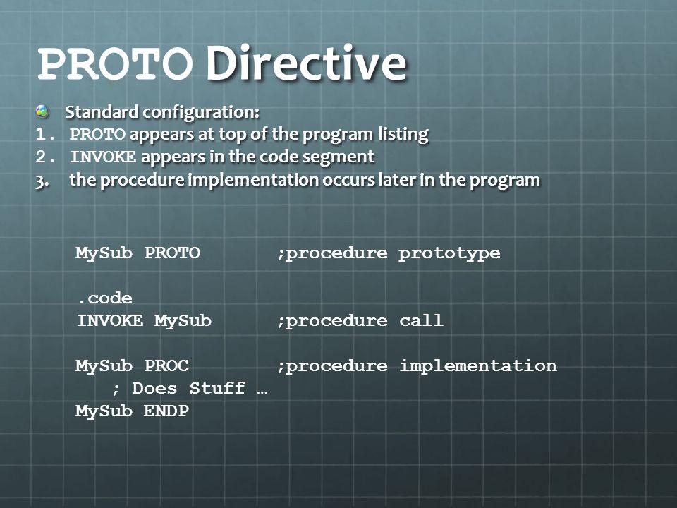 PROTO Directive Standard configuration: