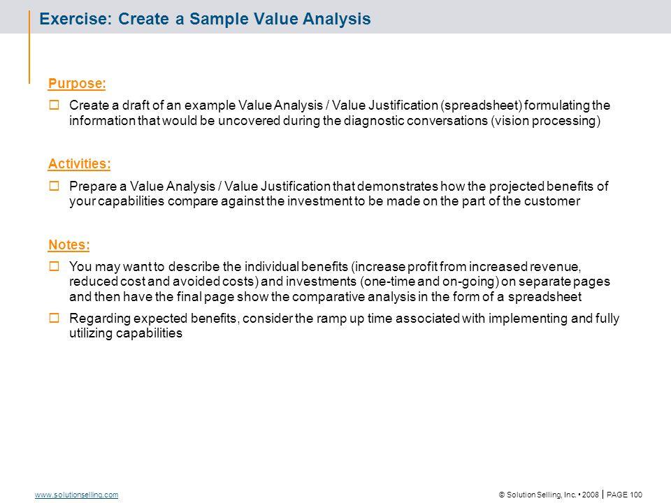 Value Analysis: Benefits
