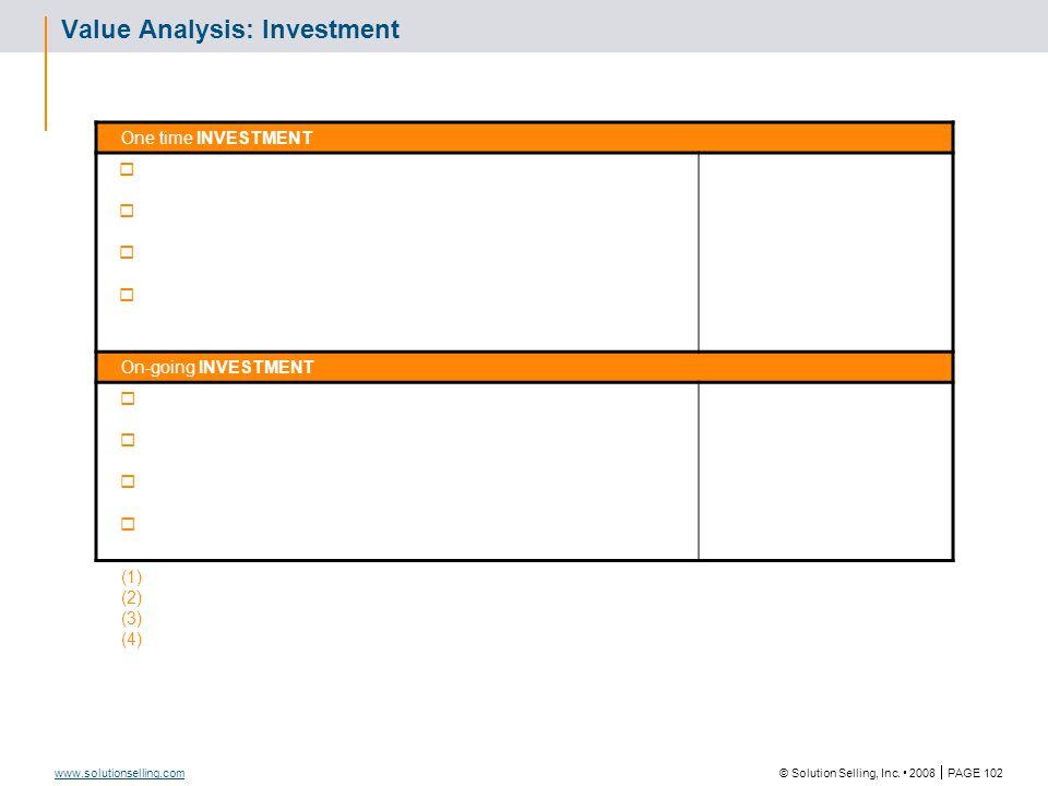 Value Analysis (Comparison)
