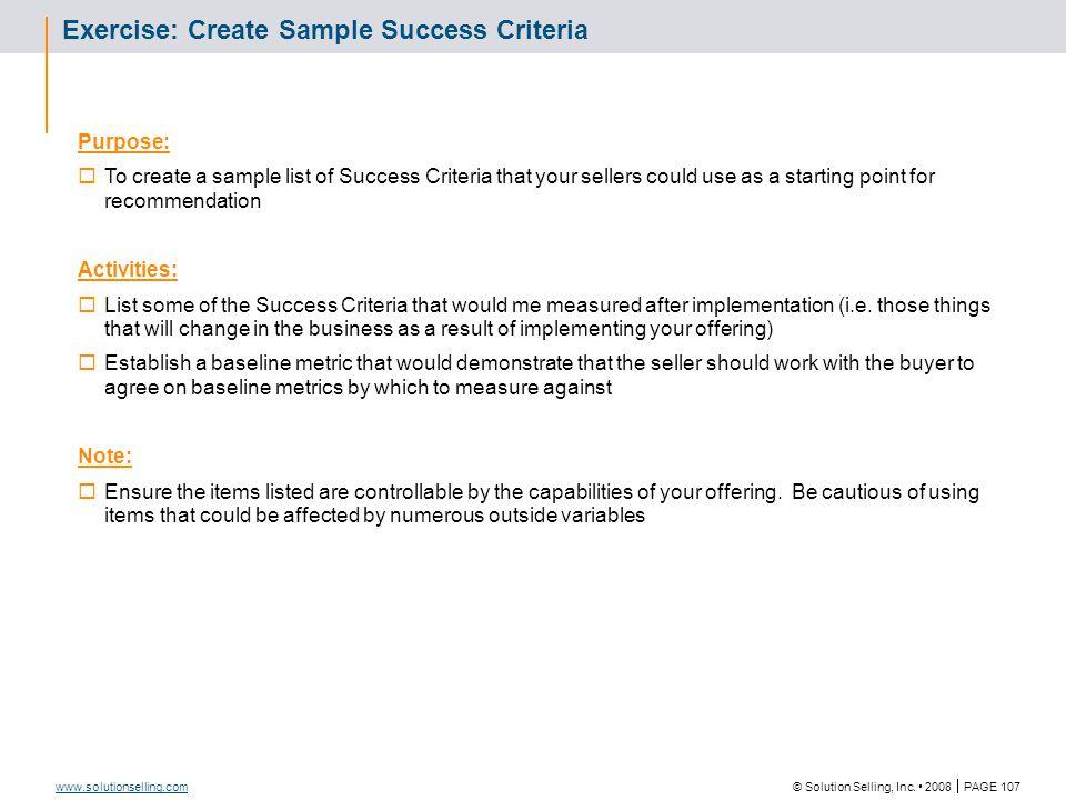 Success Criteria Template