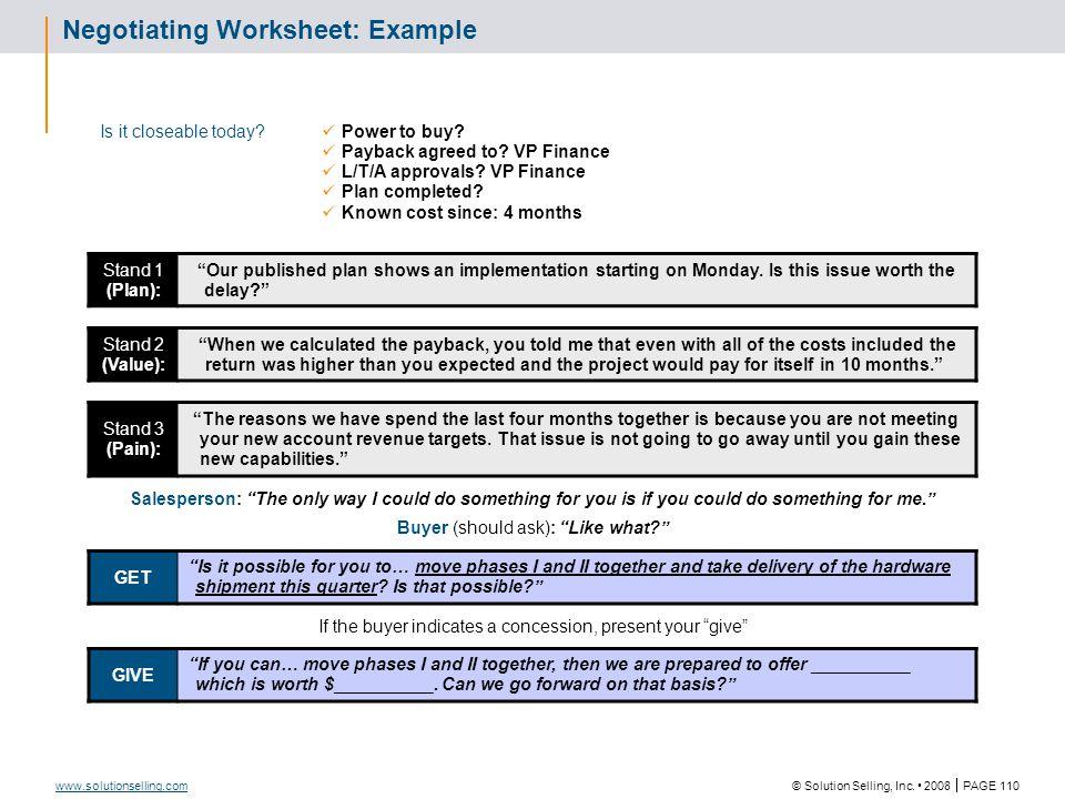 Sales Tool Description Negotiating Worksheet
