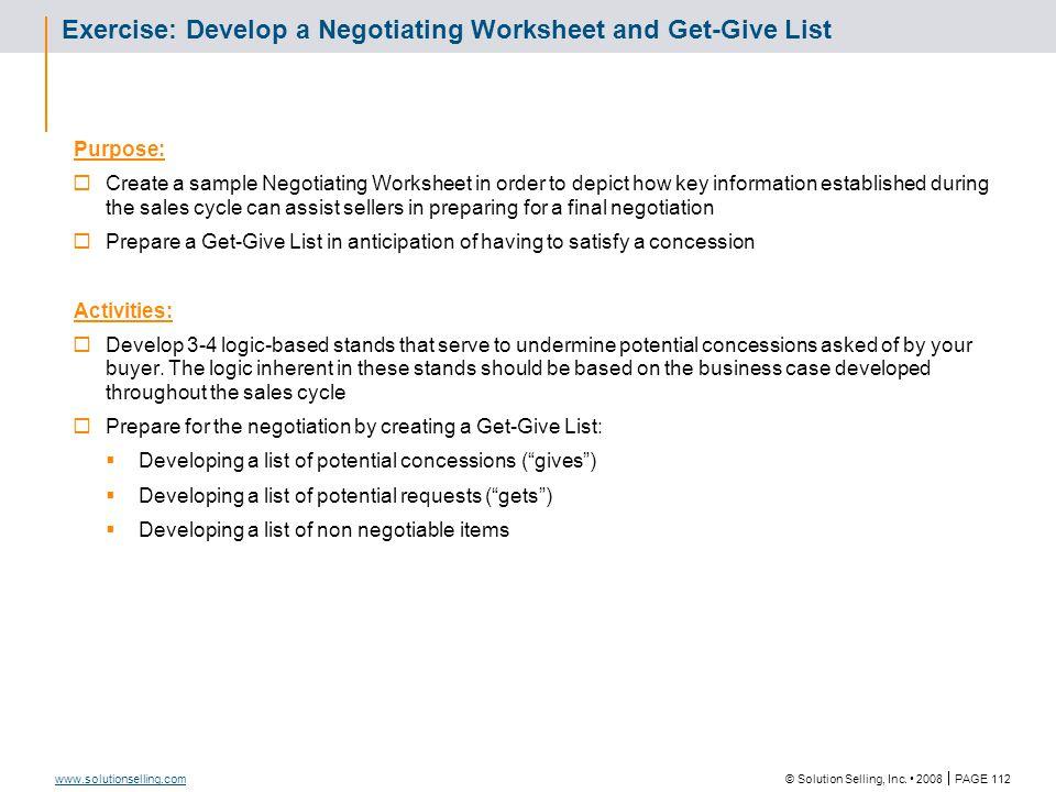 Negotiating Worksheet
