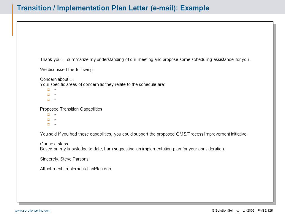Proposed Transition / Implementation Plan: Example Attachment to Transition / Implementation Plan Letter / e-mail