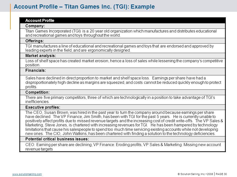 Sales Tool Description Account Profile