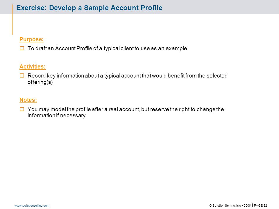 Account Profile: Template