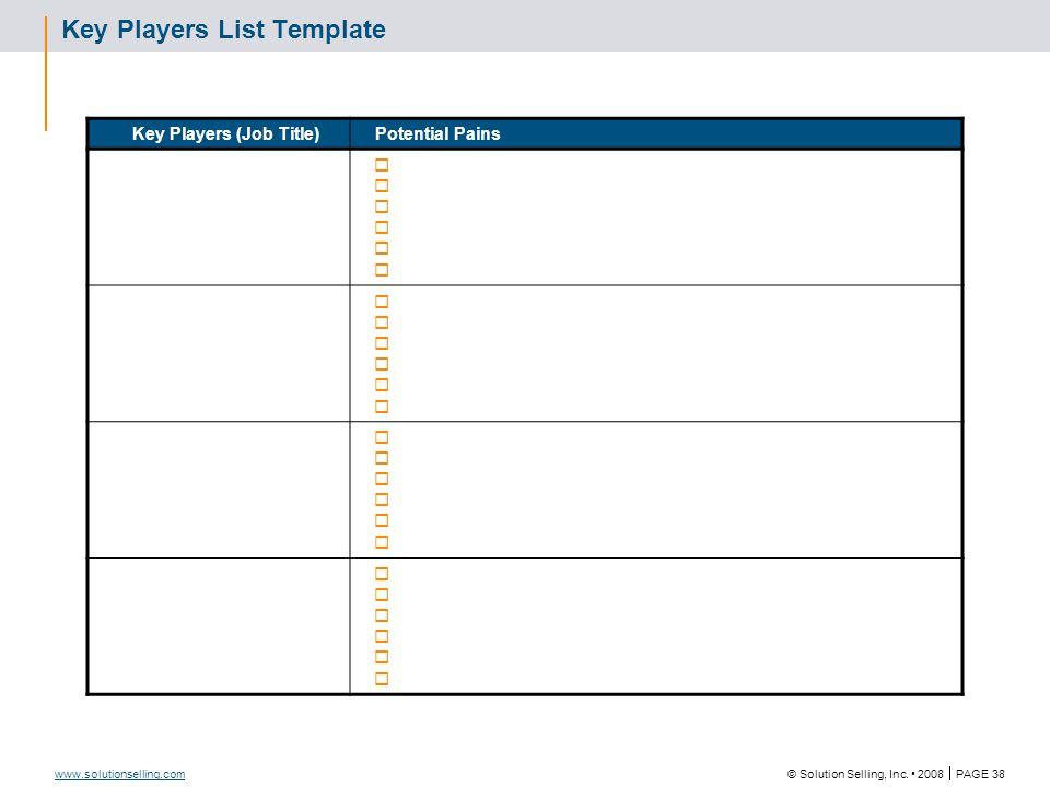 Key Players List Template (Continued)