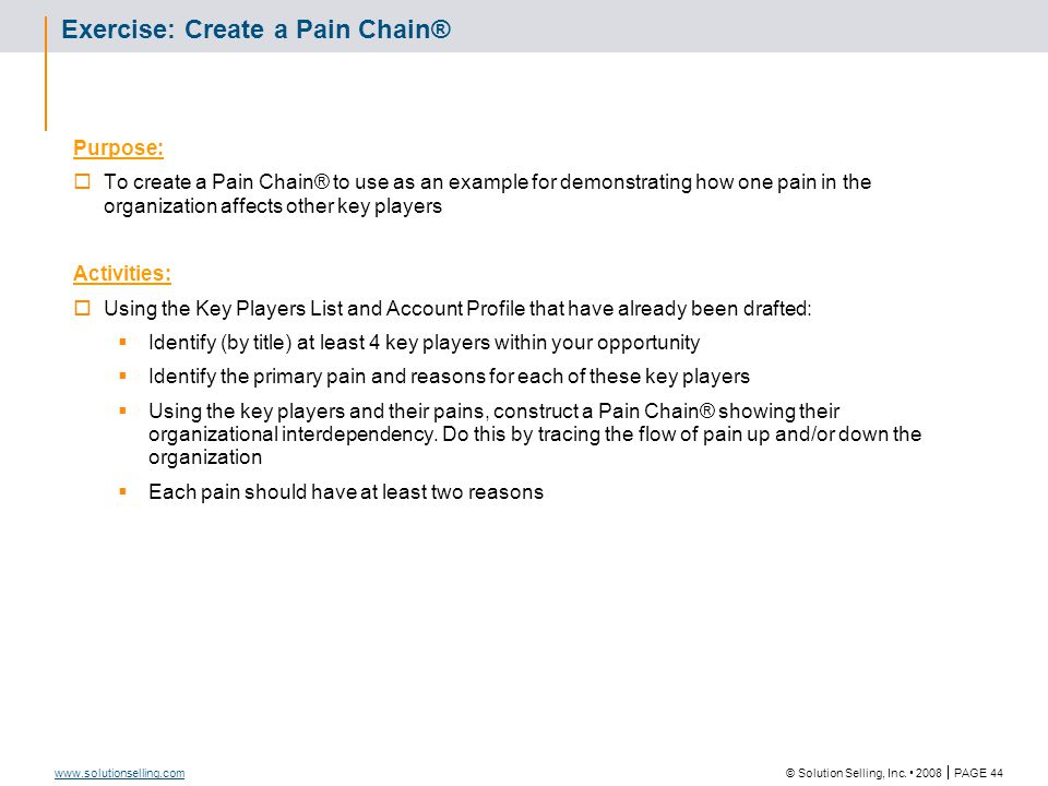 Pain Chain® Template Job Title: Pain: Reason A: Reason B: Job Title: