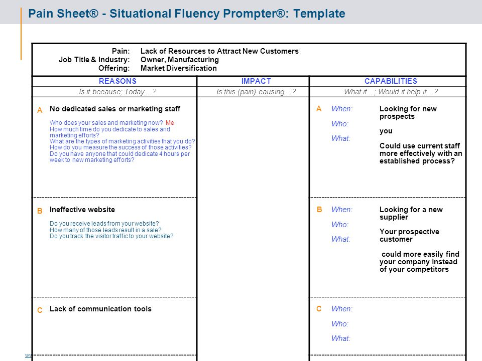 Pain Sheet® - Situational Fluency Prompter®: Template