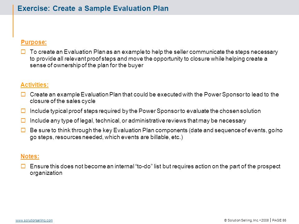 Draft Evaluation Plan: Template